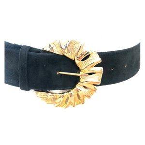 Christian Dior Black Suede Leather Belt